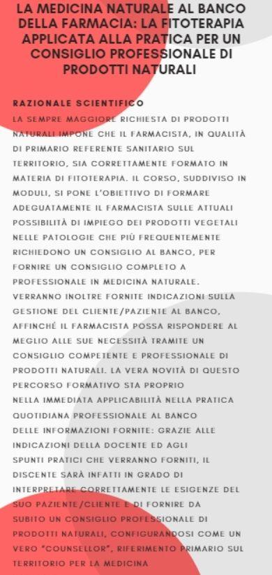 LA MEDICINA NATURALE AL BANCO DELLA FARMACIA: LA FITOTERAPIA APPLICATA ALLA PRATICA  PER UN CONSIGLIO PROFESSIONALE DI PRODOTTI NATURALI MODULO 1