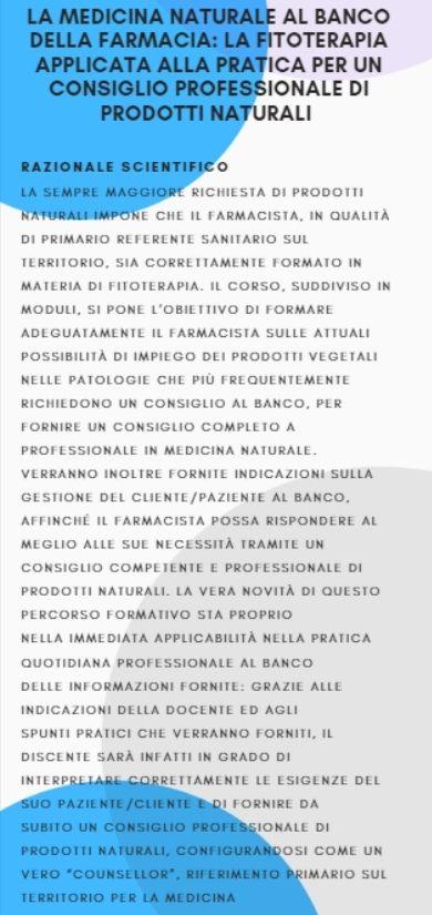 LA MEDICINA NATURALE AL BANCO DELLA FARMACIA: LA FITOTERAPIA APPLICATA ALLA PRATICA  PER UN CONSIGLIO PROFESSIONALE DI PRODOTTI NATURALI MODULO 2